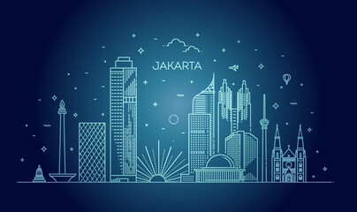 Jakarta Cityscape with Landmarks. Indonesia Wall mural