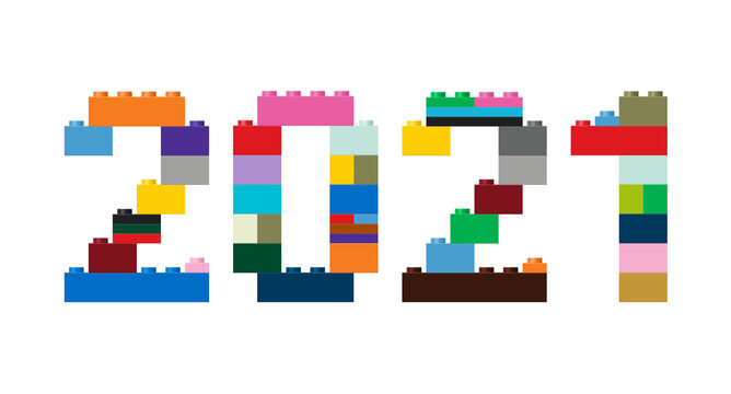 Vector illustration of the number 2021 in construction colored bricks