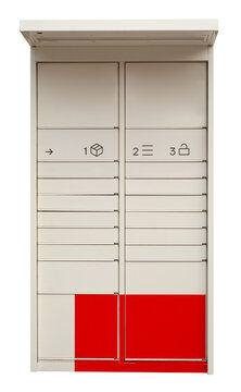 Automated post office on white background isolation