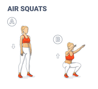 Girl doing Air Squats Exercise Home Workout Guidance.
