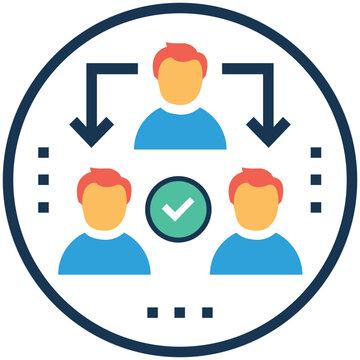 Teamwork management vector illustration, micromanagement symbol