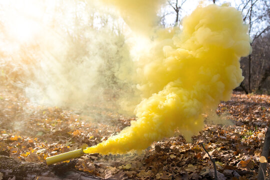 clouds of yellow colored smoke smokes against the background of nature in autumn or early spring. rays of the sun passing through. props for a photo shoot.