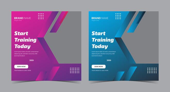 Start training today social media post, gym social media post and flyer