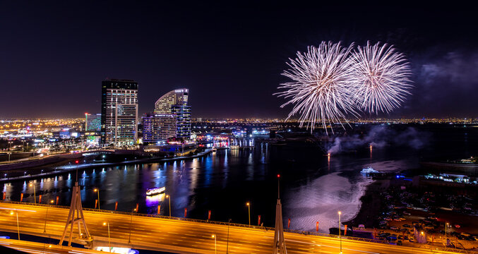 View over DUbai Creek and and New Year Fireworks