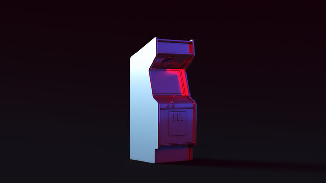 Vintage Arcade Console with Pink and Blue Moody 80s lighting 3d illustration render