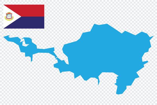 Sint Maarten map. Sint Maarten flag. flat icon symbol vector illustration