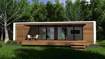 Fototapeta tiny house in the woods obraz
