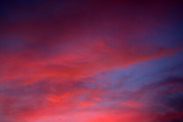 Pink sky clouds at sunset. Colorful sky background. Clouds pattern texture backgrounds. Blue sky and red clouds.