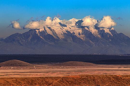 Bolivia. Landscape of the Altiplano and Illimani (the highest mountain in the Cordillera Real)