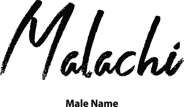 Malachi-Male Name Written Letter Brush Calligraphy Text on White Background