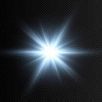 Vector blue glow. Magic glow, blue light, rays, blue flash png. Spark, star png. Vector image.