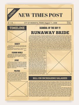 Vintage newspaper. Old realistic pages with headers and place for pictures, retro article layout. Publication design with column and calligraphic font for headlines. Sheet of newsprint, vector mockup