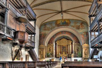 Wall Mural - Sare, France : Church interior, HDR Image