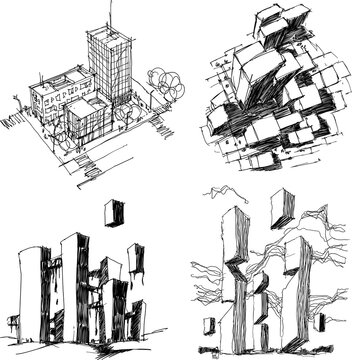 four hand drawn architectectural sketches of a modern abstract architecture and generic city urbanism structure and fantastic buildings