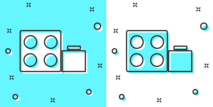 Black line Toy building block bricks for children icon isolated on green and white background. Random dynamic shapes. Vector.