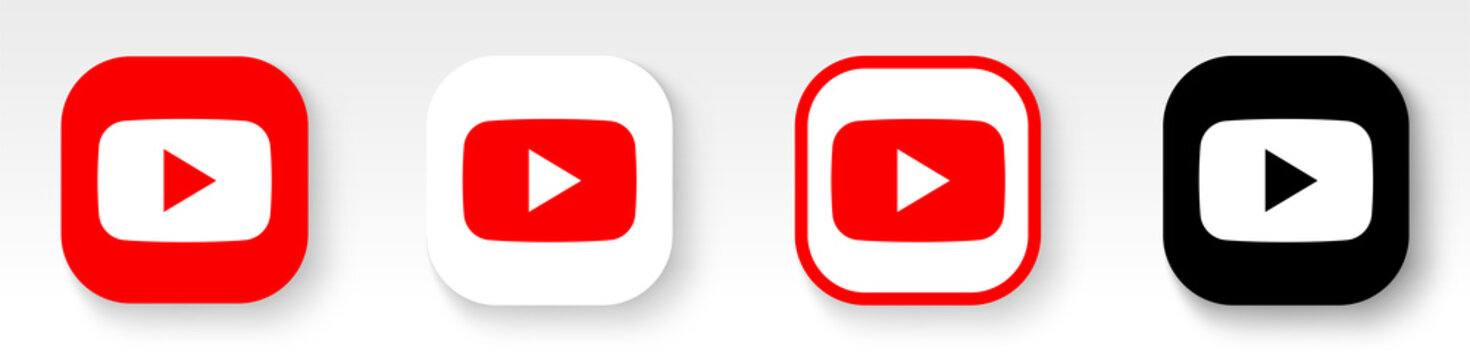 youtube logotype with shadow. youtube buttons set