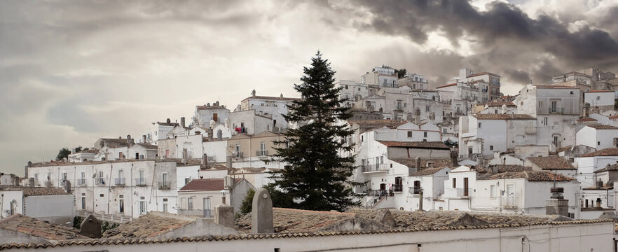 Panoramic view of Monte Sant'Angelo, Puglia, Italy