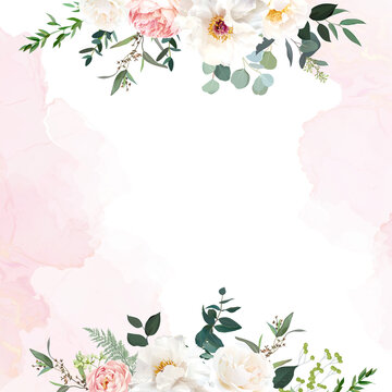 Retro delicate wedding card with pink watercolor texture and flowers