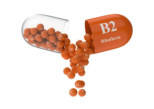 Open capsule with b2 riboflavin from which the vitamin composition is poured. Medical 3D rendering illustration