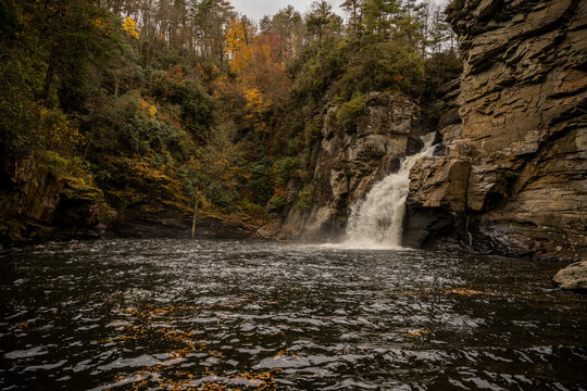 Linville Falls Drops Into Pool Below In Autumn