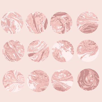 Round light pink marble pattern texture set. Vector pale illustration.