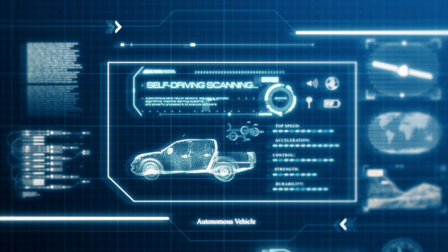 HUD self-driving vehicle pickup truck car specification scanning test user interface on computer screen pixel display panel background. Blue hologram sci-fi tech concept. Front view. 3D illustration