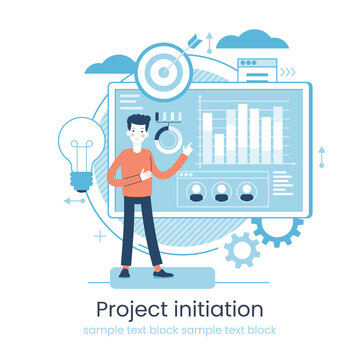 Project life cycle concept. Business analysis. Initiating and closing a project. Terms of implementation of projects. Drawing up documentation. Abstract metaphor.