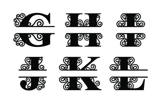 Alphabet Split Monogram, Split Letter Monogram, Alphabet Frame Font. Laser cut template. Initial monogram letters.