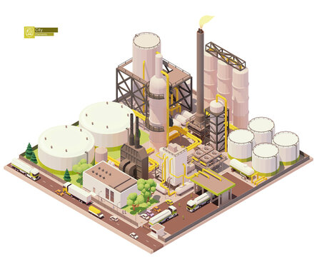 Vector isometric oil refinery plant with tankers for crude oil, processing facilities and petroleum storage tanks. Petrochemical plant infrastructure