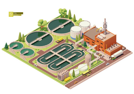 Vector low poly water or sewage treatment plant infrastructure. Water or wastewater cleaning plant. Basins for sewerage water aeration. Biological treatment plant