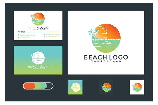 beach logo design modern graphic and business card
