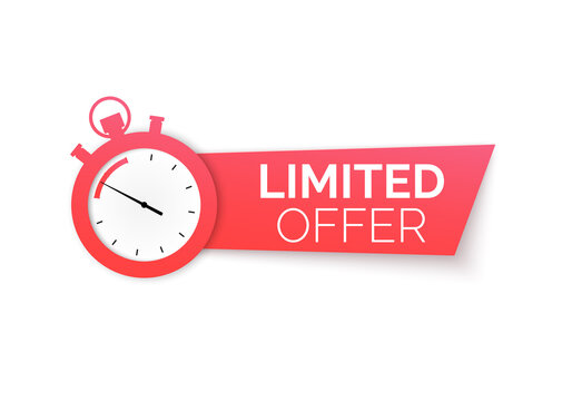 Stopwatch with special offer. Limited time offer banner. Big sale discount. Vector illustration