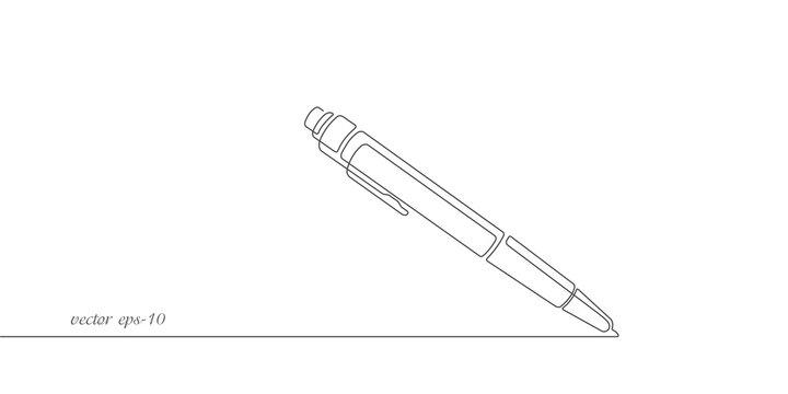 Ballpoint pen.Pen continuous line .One line drawing.Pencil illustration.