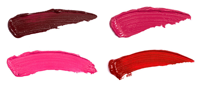 Collection of Smears of Lipstick Swatches Isolated on a White Background