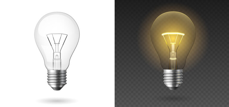 Realistic light bulb. Glowing yellow and white incandescent filament lamps
