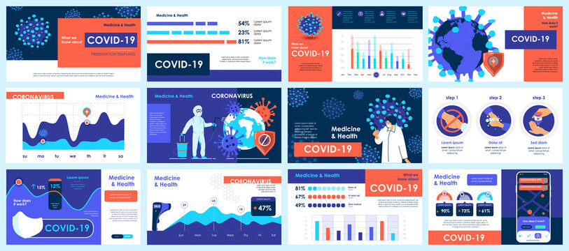 Coronavirus presentation slides templates from infographic elements and vector illustration. Can be used for presentation 2019-nCoV Covid, symptoms, spreading, preventive and protection from virus.