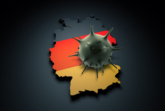 Pandemic COVID-19 3d render concept: Coronavirus cell on Germany map covered with German flag. Conceptual 3d rendering of coronavirus.