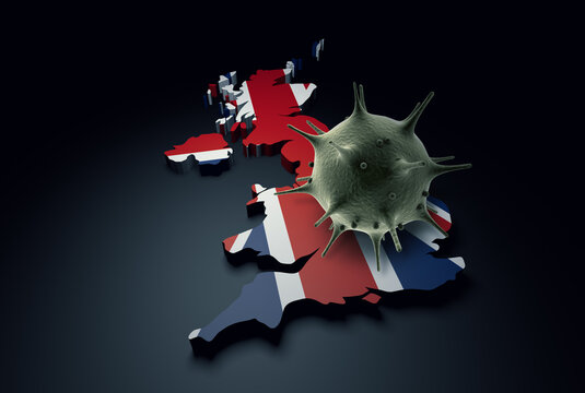 Pandemic COVID-19 3d render concept: Coronavirus cell on United Kingdom map covered with UK flag. Conceptual 3d rendering of coronavirus.
