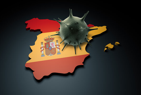 Pandemic COVID-19 3d render concept: Coronavirus cell on Spain map covered with Spain flag. Conceptual 3d rendering of coronavirus.