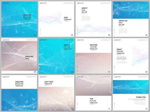 Brochure layout of square format covers templates for square flyer leaflet, brochure design, report, presentation, magazine cover. Wave flow background for science or medical concept design.