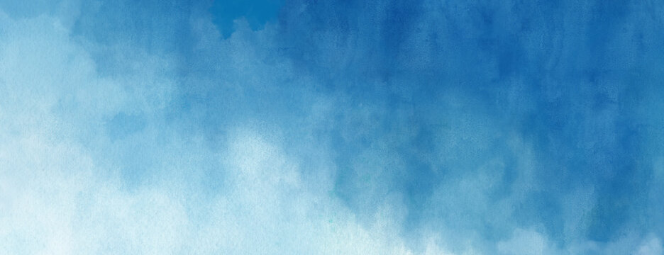 Watercolor background in blue and white painting with cloudy distressed texture and marbled grunge, soft fog or hazy lighting and pastel colors