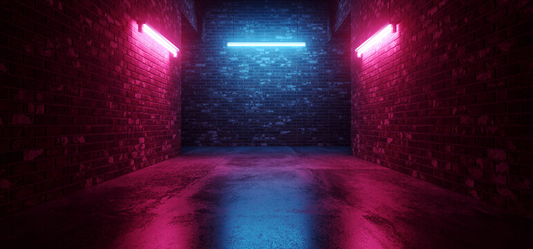 Cyber Sci Fi Neon Tunnel Corridor  Fluorescent Club House Laser electric Grunge Brick Concrete Grunge Purple Blue Vibrant Hangar Room Studio Realistic Background 3D Rendering