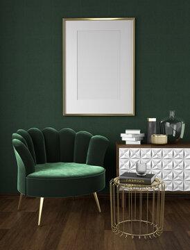 Framed poster mockup, velvet armchair with cabinet and golden side table, vintage, art deco style interior scene