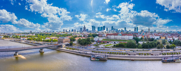 Fototapeta City skyline background. Aerial view of Warsaw capital city of Poland. From above, city view with night sky. Panorama of Warsaw cityscape. Europe. Aerial view obraz