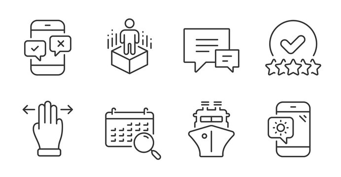 Search calendar, Ship and Multitasking gesture line icons set. Phone survey, Augmented reality and Weather phone signs. Rating stars, Comment symbols. Find date, Shipping watercraft, Swipe. Vector