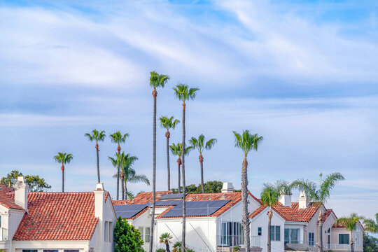Red tile roofs of homes with solar panels against cloudy blue sky and palm trees