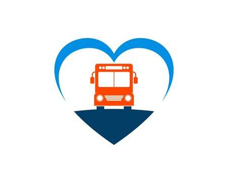 Love shape with school bus inside