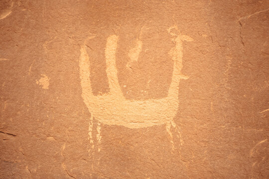 Petroglyphs at the Poison Spider Trailhead in Moab, Utah