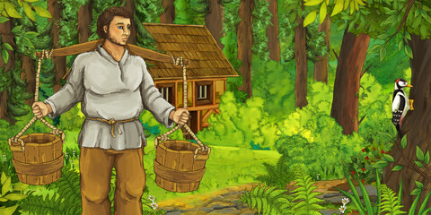 cartoon scene with farmer near the wooden farm in the forest - illustration