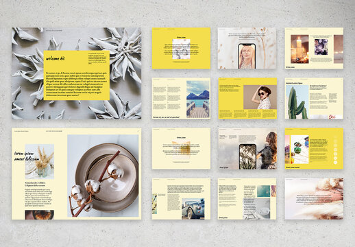 Welcome Kit Layout with Yellow Accents